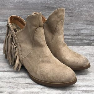 NOT RATED BUCKLE cream fringe ankle boots